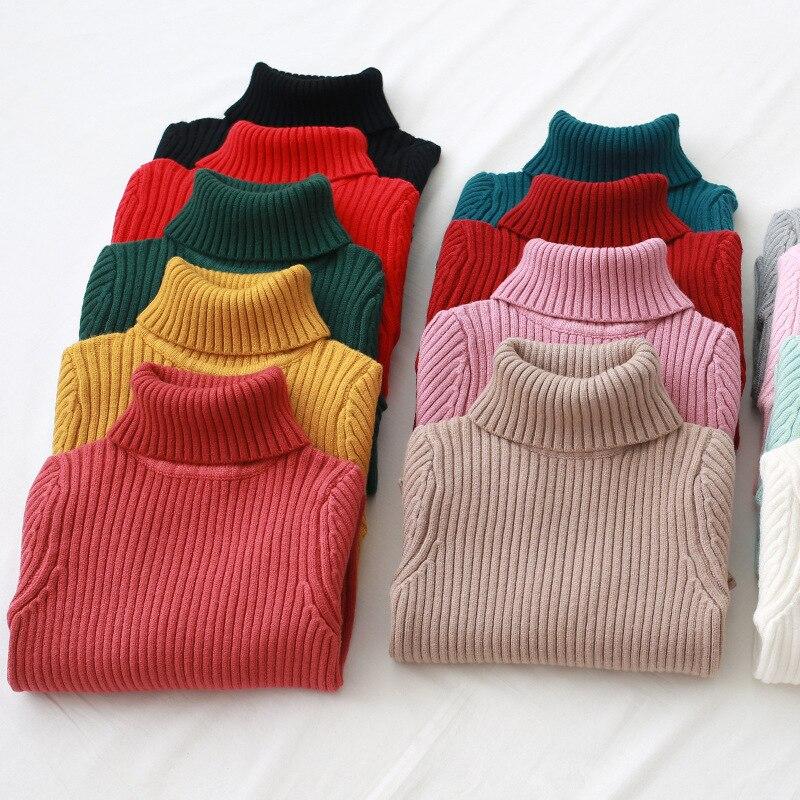 Gola de inverno Crianças Camisolas Sólidos Engrosse Camisola Das Meninas Dos Meninos 2018 Outono Nova Casual Crianças Camisola de Malha Para Meninas 2- 8 t