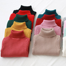 Winter Turtleneck Kids Sweaters Solid Thicken Boys Girls Sweater 2018 New Autumn Casual Children Knitted Sweater For Girls 2-8T недорого