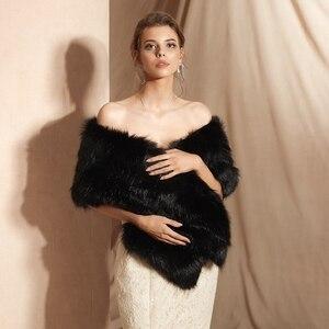 Image 5 - سترة سوداء للحفلات المسائية من صور حقيقية لعام 100% ، معطف للشتاء للزفاف من الفرو الصناعي ، معطف للشتاء للنساء ، شال للشتاء