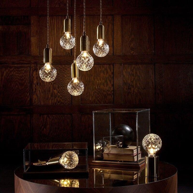 Nordic Minimalist Single Head Retro Restaurant Lamp Loft Carved Glass Lampshade Coffee Shop Bar Light Free