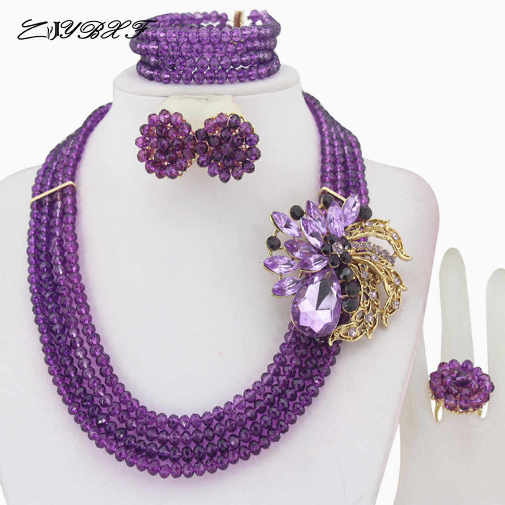 Charming African Beads Jewelry Set Nigerian Wedding African Crystal Beads Jewelry Set     HD2009
