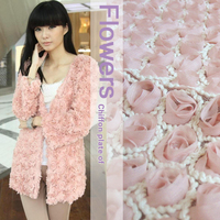 120cm wide 3d disk flowers chiffon embroidery three dimensional flowers cutout pink lace fabric wedding decoration