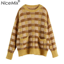 NiceMix 2019 Autumn Winter High Quality Wool Mohair Sweater Women Tops Pullover Vintage Plaid Plus Size Sweaters Pull Femme