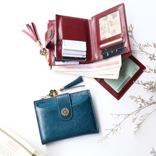 2019 New arrival genuine Cow Leather sunflower button wallet women vintage cowhide purse ID card holder short wallets