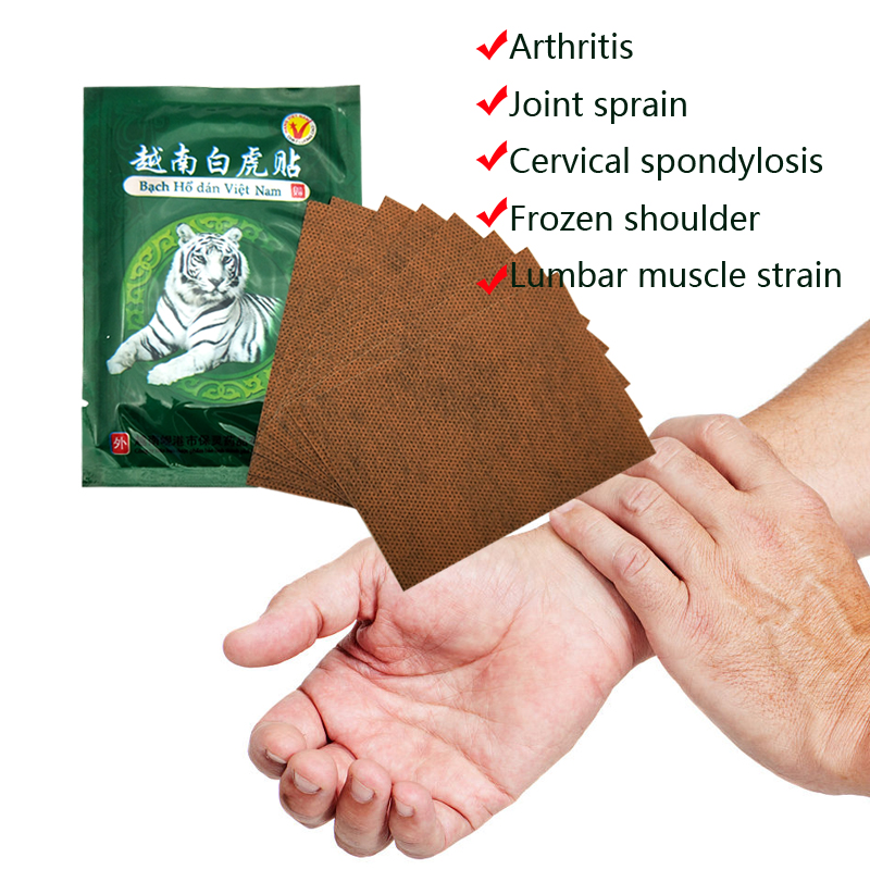 10Bags Vietnam White Tiger Balm Pain Patch Body Neck Massager Meridians Stress Relief Arthritis Capsicum Plaster C161