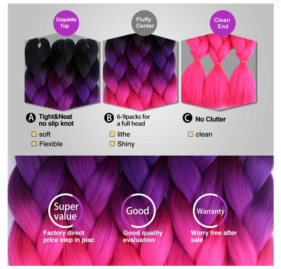 Chorliss, огромные косички, синтетические волосы для наращивания, Омбре, косички, цветные, вязанные крючком косички, 613, розовый, фиолетовый, 24 дюйма (65 см), блонд