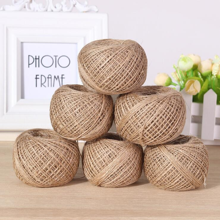 50m/lot Small Natural Jute Twine Cord DIY Accessory Hemp Rope String 2MM Rustic Wrap Photo Paper Crafting Wedding Scrapbooking