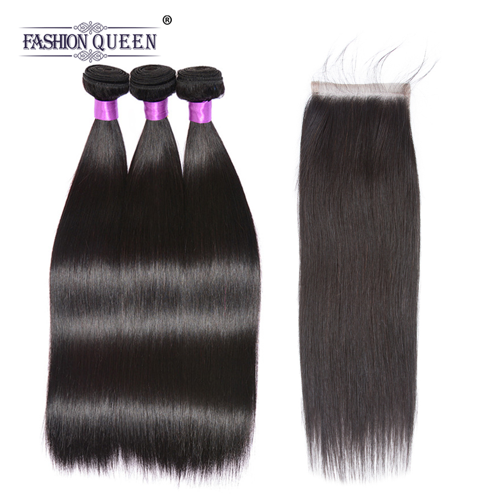 Fashion Queen Hair 3 Bundles Brazilian Straight Hair With Closure 4*4 Free Part 3pcs/lot Human Hair Extension Natural Color