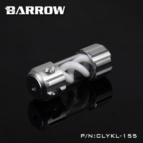 Barrow Aluminum White VIRUS T cylinder water reservoir water tank 155mm computer water cooling UV Lighting included CLYKL155 barrow 155mm x 50mm double helix t virus cylindrical water cooled coolant tank light system pom pmma white cover 5 color tlyk155