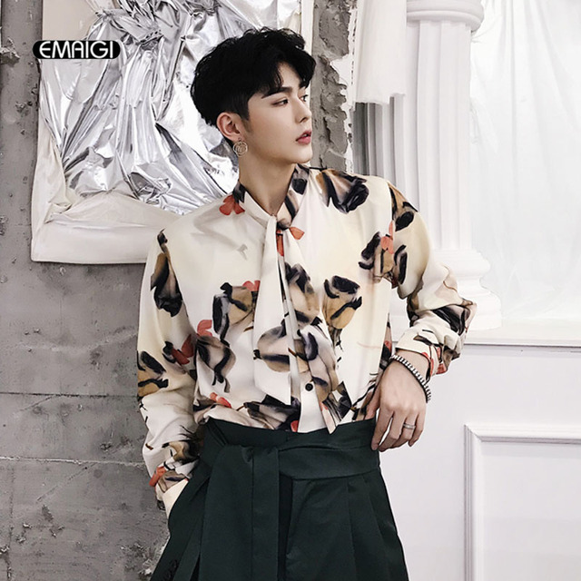 Men Vintage Fashion Printing Bow Collar Long Sleeve Casual Shirt Couple Male  Women Harajuku Streetwear Party Dress Shirts 9b5831045c21