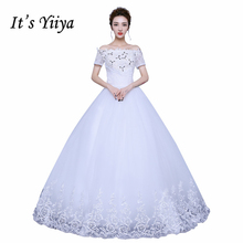 It's YiiYa 2017 White Wedding Dresses Bride Princess Ball Gowns Vestidos De Novia Boat Neck Lace Short Sleeves XXN163
