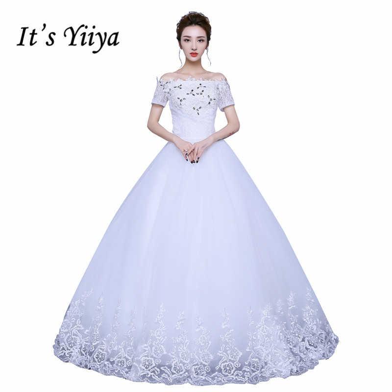 cc5a116c0b9610b Это yiiya 2017 Белый Свадебные платья невесты принцессы бальные платья  Vestidos De Novia Лодка шеи Кружева