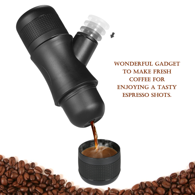 Homgeek Mini Portable Compact Manual Espresso Maker Black Coffee Maker Hand Operated Coffee Machine Cappuccino For Home