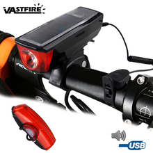Solar Power Front Bike Headlight XM-L T6 MTB Cycling Light USB Rechargeable 350lm with 140 dB Bell