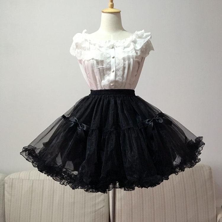 84f3ab7934ed3 Noir Blanc robe de Bal Jupon Doux Lolita Organza Jupon avec Arc Livraison  Gratuite