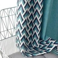 Пользовательские шторы Nordic Соединенные геометрические фигуры синий цвет гостиная спальня простой современная ткань затемненные шторы тюл