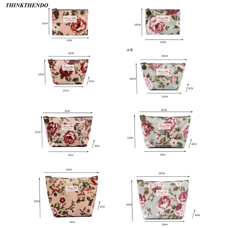 THINKTHENDO 2019 New Fashion Zipper Vintage Flower Floral Pencil Case Coin Bag Cosmetic Makeup Storage Pouch Purse