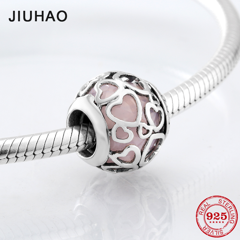 Real Hollow hearts pink glass beads for jewelry making fit Pandora charms silver 925 original Bracelets Bangles fashion jewelry