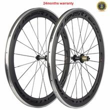 Gorąca sprzedaż 700C hamulca ze stopu węglowe koła rower szosowy węgla koła clincher aluminium koła drogowego chiński rower koła 60mm tanie tanio matte SUPERTEAM WH-R60CF-CA V hamulca 20-24 h CARBON Rowery drogowe 1 pair of carbon wheelset Toray T700 carbon fiber R13 hub