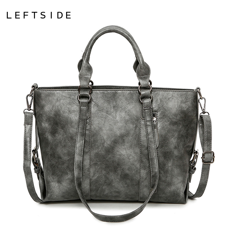 LEFTSIDE 2017 Winter Female Big Handbag Women PU Leather Handbags Ladies Tote Bags Large Shoulder Crossbody Bag Drop Shopping 2018 new women bag ladies shoulder bag high quality pu leather ladies handbag large capacity tote big female shopping bag ll491
