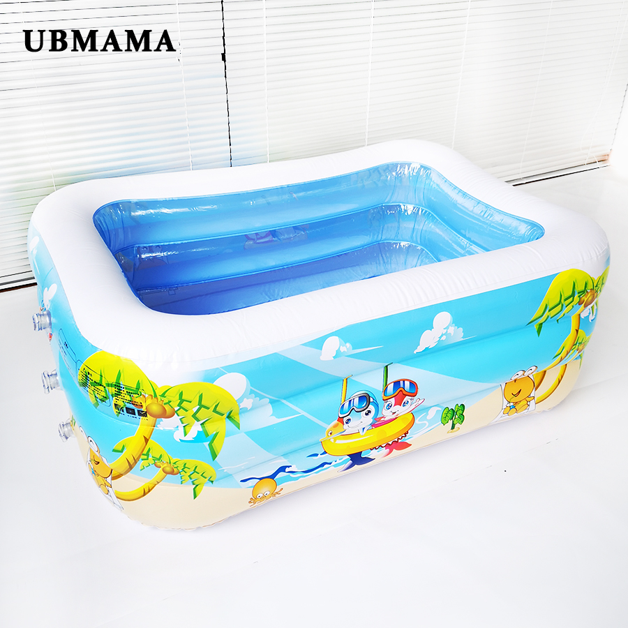 Portable Inflatable Swimming Water Pool Outdoor Children Bathtub Game Play Ground Plastic Print Waterproof Pool 120x90x30cm