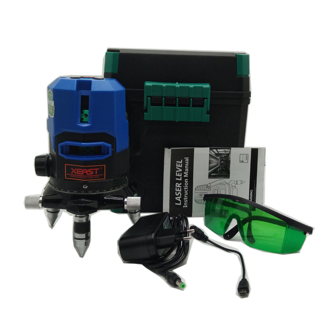 Xeast blue light 5 lines 360 rotary automatic level laser level meter tool machine land leveler