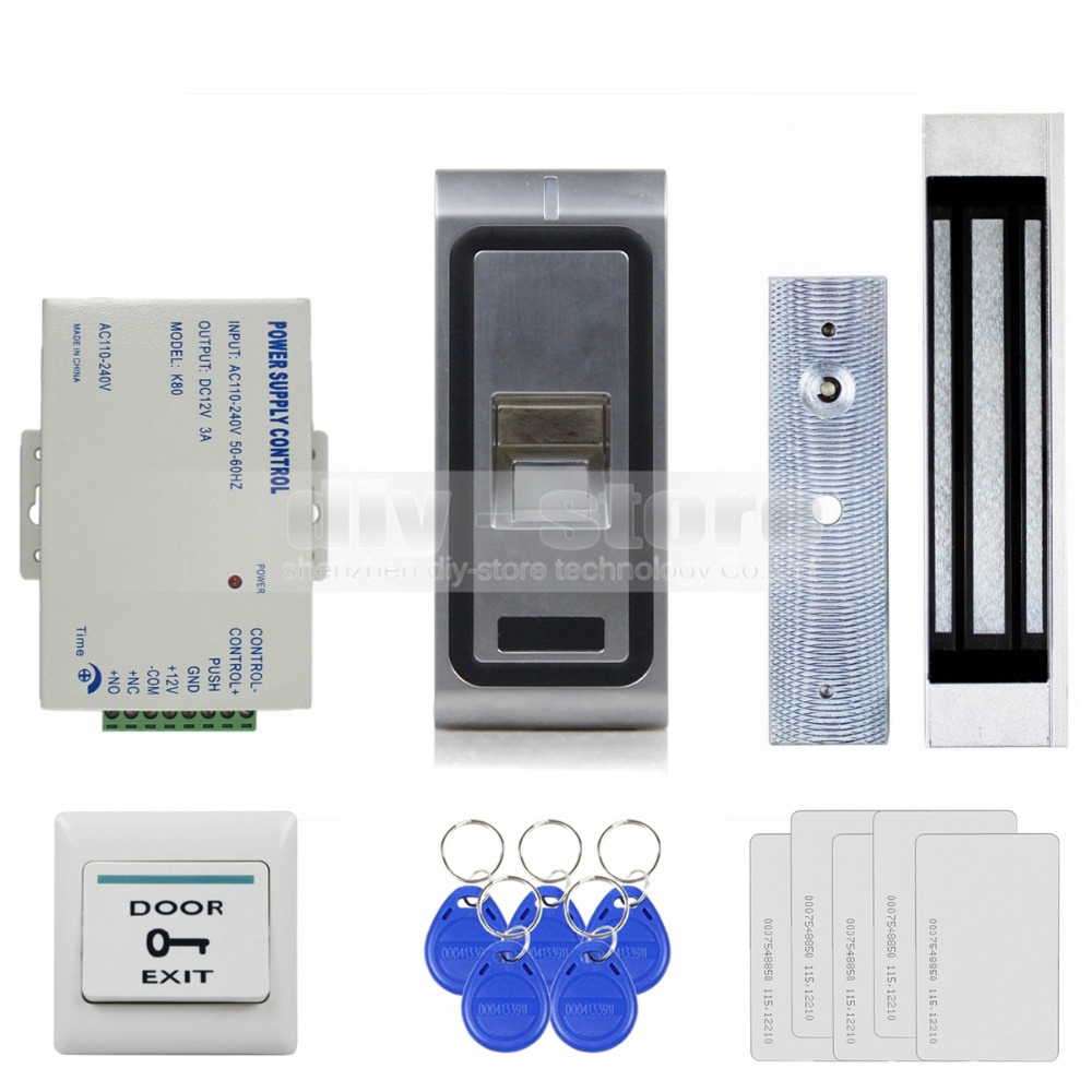 DIYSECUR Fingerprint 125KHz RFID ID Card Reader Door Access Control System Kit + 180kg 350LB Magnetic Lock original access control card reader without keypad smart card reader 125khz rfid card reader door access reader manufacture