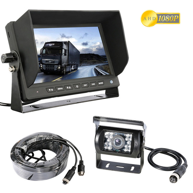 Quad 7 4 Split Screen Monitor+Side View+Backup CCD Camera For Truck Bus Van RV