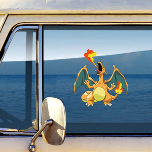 Image 3 - 12.7 سنتيمتر * 13.6 سنتيمتر بوكيمون Charizard ملصقات السيارات الكرتون Charizard الشارات الإبداعية دفتر كمبيوتر محمول سيارة ألعاب كهربائية التصميم