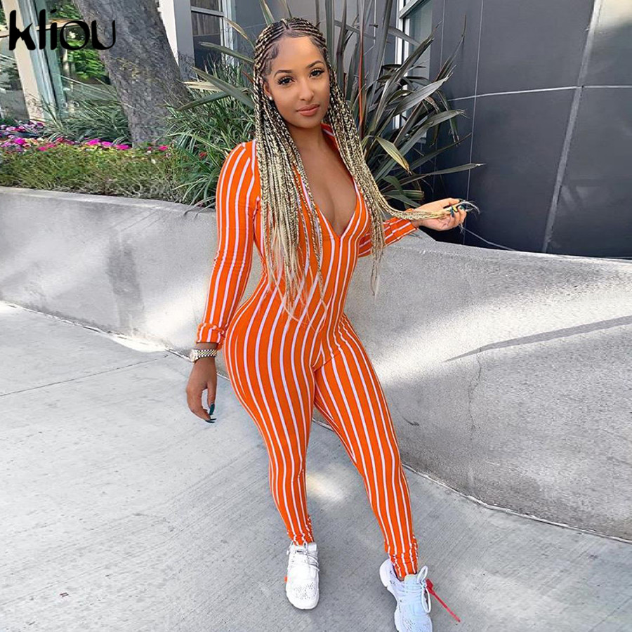 Kliou Striped V-neck Sexy Long Sleeve Slim Jumpsuit 2019 Summer Women Fashion High Waist Streetwear Club Bodycon Female Body