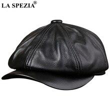 LA SPEZIA, черные шапки Newsboy для мужчин, натуральная телячья кожа, восьмиугольная кепка, мужская осенне-зимняя облегающая винтажная Кепка Duckbill, берет