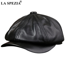 LA SPEZIA Black Newsboy Hats For Men Genuine Cowskin Leather Octagonal Cap Male Autumn Winter Fitted Vintage Duckbill Beret