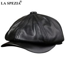LA SPEZIA Black Newsboy Hats For Men Genuine Cowskin Leather Octagonal Cap Male Autumn Winter Fitted Vintage Duckbill Beret