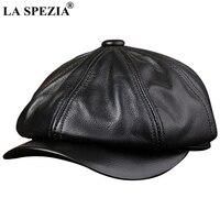 LA SPEZIA Black Newsboy Hats For Men Genuine Cowskin Leather Octagonal Cap Male Autumn Winter Fitted Vintage Duckbill Hats Beret
