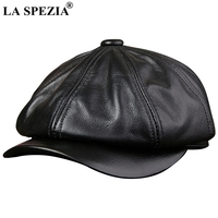 LA SPEZIA Black Newsboy Hats For Men Genuine Cowskin Leather Octagonal Cap Male Autumn Winter Fitted Vintage Duckbill Hats Beret