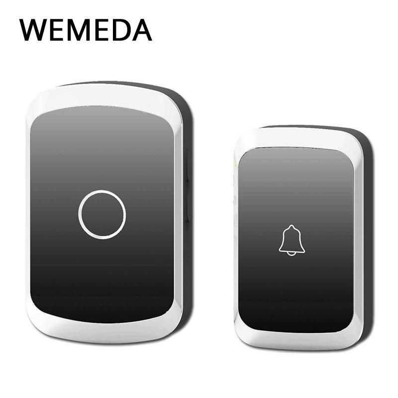 WEMEDA Drahtlose Türklingel Wasserdicht Batterie Taste LED Licht Empfänger UNS Stecker 300 Remote 36 Chime 4 Volumen Startseite Cordless Glocke