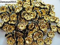 200pcs/lot 10mm Top Quality Czech Jet Black Crystal Rhinestone Pave Wavy Rondelle Metal Spacer Loose Beads Jewelry