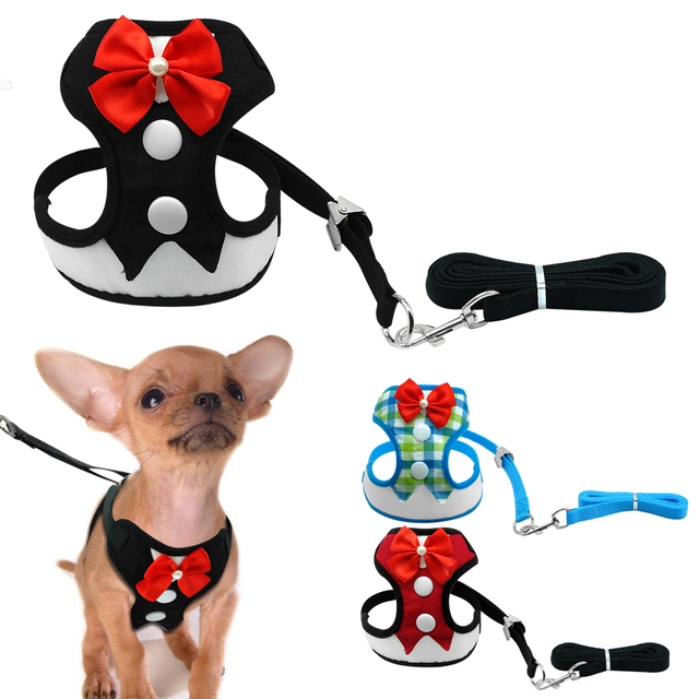 Elegant Bow Dog Harness Nylon Mesh Puppy Vest Breathable Pet  Walking Harnesses  and Leash Set Tuxedo For Chihuahua Small Dogs