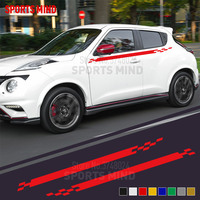 1 Pair Sports Mind Door & Waist Line Car Sticker Decal Automobiles Car Styling For Nissan Juke Nismo R Exterior Accessories