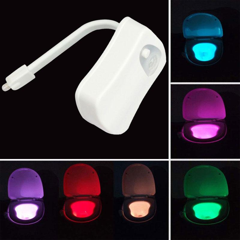 Smart Bathroom Toilet Light WC LED Closestool Body Motion Activated Seat PIR Sensor Auto Lamp Activated Pedestal 8color