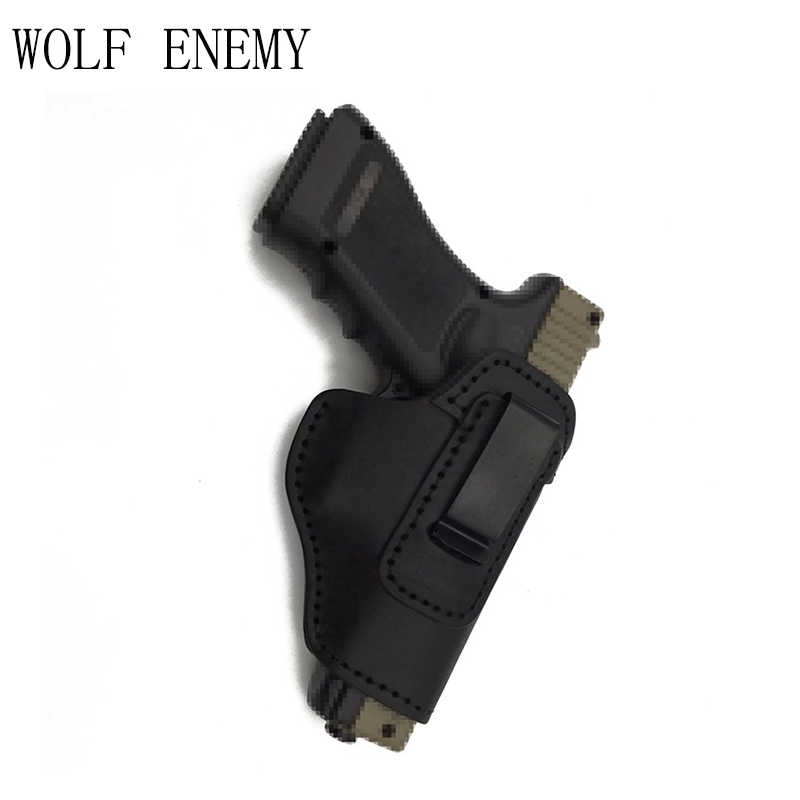 Leather IWB Holster for S&W M&P Shield - GLOCK 17 19 22 23 32 33 /  Springfield XD & XDS / Plus All Similar Sized Handguns -Right