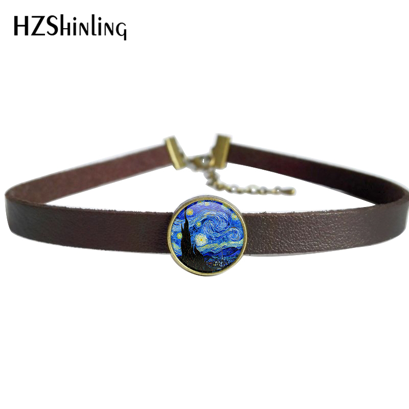 2017 NEW Van Gogh's Painting Pendant The Starry Night by Vincent Jewelry Leather Choker Necklace Gifts Women