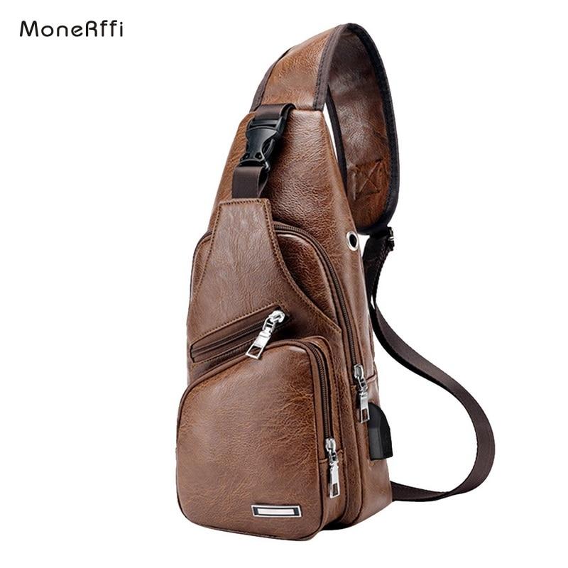 MoneRffi Men's Chest Bag Men Leather Chest USB Backbag With Headphone Hole  Travel Organizer Male  Bag