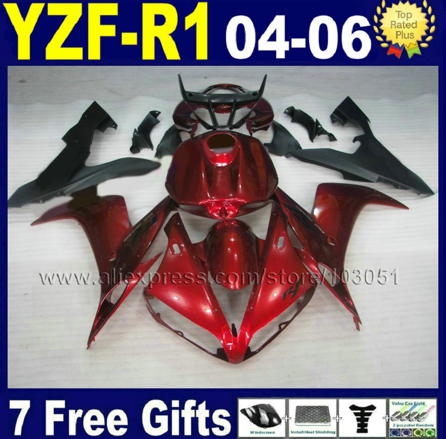 Custom Injection molded man motorcycle for YAMAHA R1 fairing kit 05 04 06  2005 2006 YZF R1 2004 dark red fairings bodywork wotefusi black motorcycle injection mold bodywork motorcycle fairing for 2004 2005 2006 yamaha yzf1000 r1 04 05 06 3 [ck813]