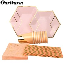 OurWarm Pink Foil Gold Disposable Tableware Birthday Party Paper Napkins Straws Plates Cups Wedding Decor Kids Party Supplies celebrate party gold foil disposable tableware set paper plates cups napkins straws adult birthday party decor wedding party sup