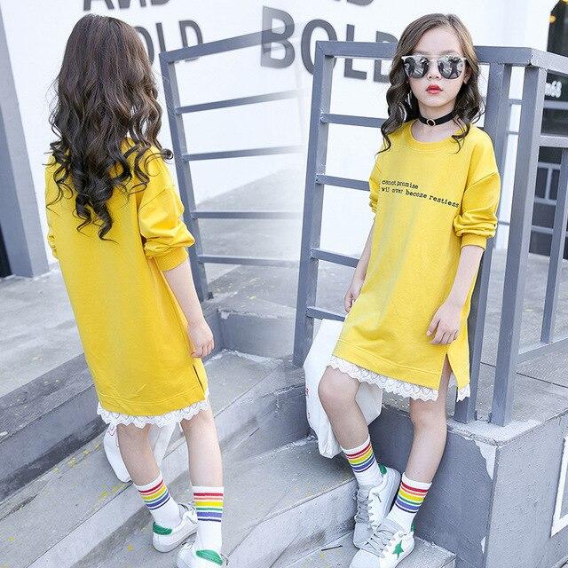Robe à capuche en dentelle pour jeunes filles   Avec manches longues, T-shirt, printemps 2019