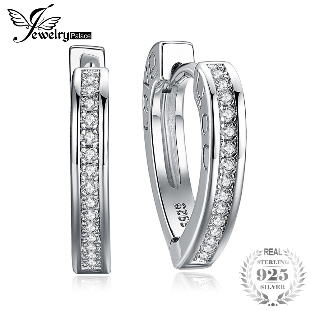 JewelryPalace Love You Channel Set Round Cubic Zirconia Heart Hoop Earrings 925 Sterling Silver Sweet LOVE YOU Typeface Women