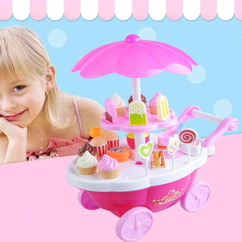 1Set Kids Simulation Candy Ice Cream Trolley Mini Pusher Car Toy Candy Ice Cream Supermarket Music Kids Pretend Play Toy