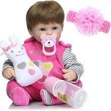 """Muñecas de silicona de 18 """"42 cm reborn baby dolls vinilo recién nacidos vivos l. o regalo de cumpleaños para niños"""