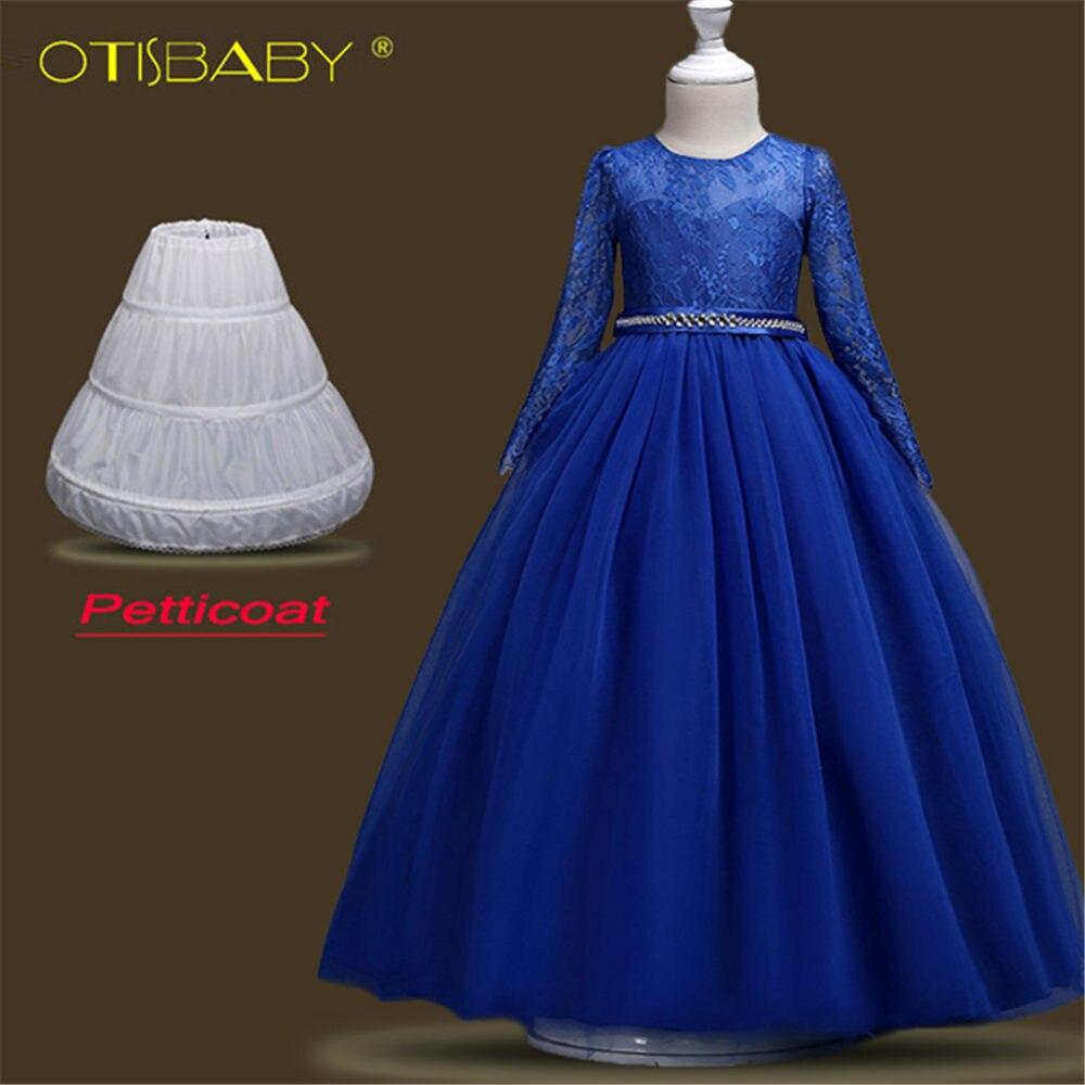 Kids Pageant Evening Gowns Children Lace Diamond Ball Gown   Girls   Mesh   Flower     Dress   Long Sleeve   Flower     Girl     Dress   for Weddings